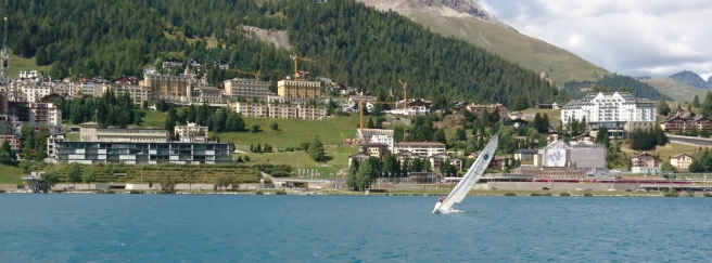 Sailing boat on the lake of St. Moritz