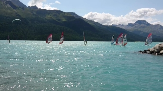 Windsurfers sailing