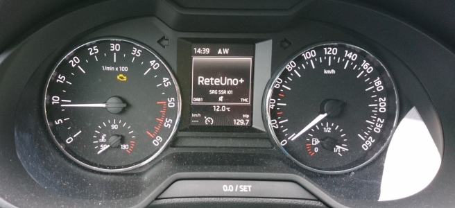 The image displays the speedometer of a Skoda Octavia, showing the yellow icon of the engine, indicating the presence of some issues.