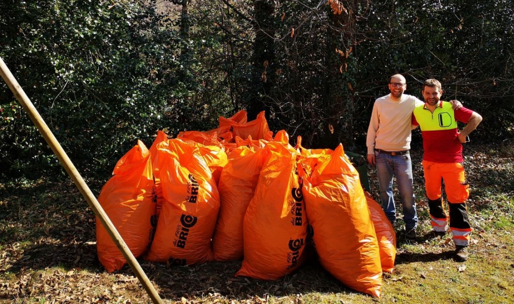 The picture represent multiple orange plastic bags filled with leaves at the end of our gardening work.
